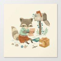 raccoon Canvas Prints featuring Raccoon Post by Teagan White