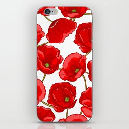 cute red poppies iPhone Skin