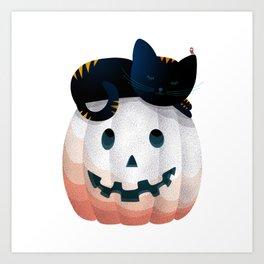 065 - tired kitty on the Halloween pumkpin Art Print