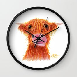 Scottish Highland Cow ' GaRLiC ' by Shirley MacArthur Wall Clock