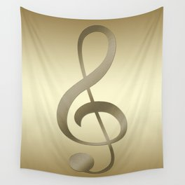 CLEF GOLD METALLIC DESIGN Wall Tapestry