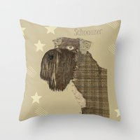 schnauzer Throw Pillows featuring Schnauzer  by bri.buckley