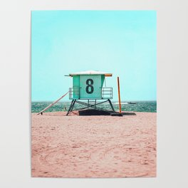 California Lifeguard Tower Poster