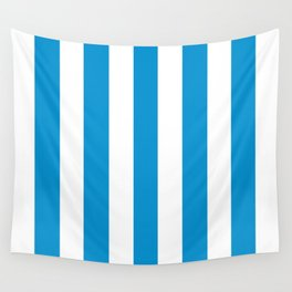 Rich electric blue - solid color - white vertical lines pattern Wall Tapestry