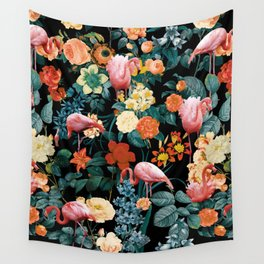 Floral and Flemingo II Pattern Wall Tapestry