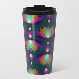 Variations on a Lotus II - Jewel on Green Metal Travel Mug