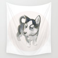 robert downey jr Wall Tapestries featuring Mr. Husky Jr. by Maxvulture