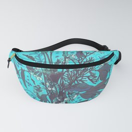 Roadside Wildflowers Bouquet, Summer Floral, Turquoise  Fanny Pack