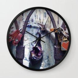 Romantic Venice Love Locks Wall Clock