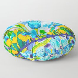 Blue Poppies 1 with Border Floor Pillow