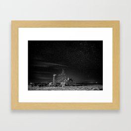 Neverwinter - Abandoned House Under Starry Night Sky in Black and White Framed Art Print