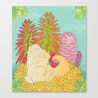 chicken Canvas Prints featuring Chicken by Raewyn Haughton