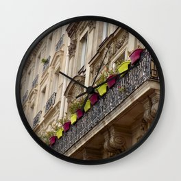 Paris side street downtown flower pots Wall Clock