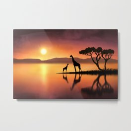 The Giraffes at Sunset Metal Print