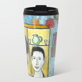 Man with cat in the kitchen Travel Mug