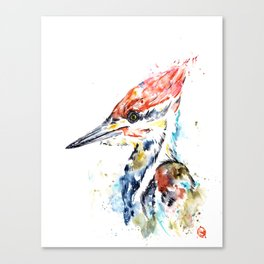 Woodpecker Colorful Watercolor Bird Painting Canvas Print