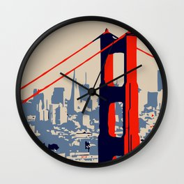 Golden gate bridge vector art Wall Clock