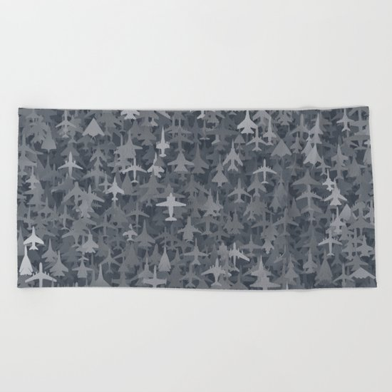 Airplanes camouflage Beach Towel