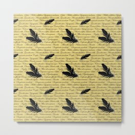 Manuscript with Feathers Metal Print