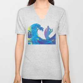 Hokusai Rainbow & Hand Unisex V-Neck