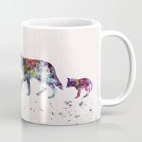 wolves Mugs featuring Wolves by Watercolorist