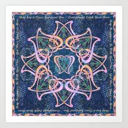 Scottish Blessing Celtic Hearts Art Print