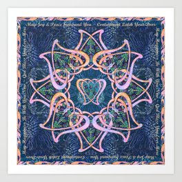 Scottish Blessing Celtic Hearts Art Print