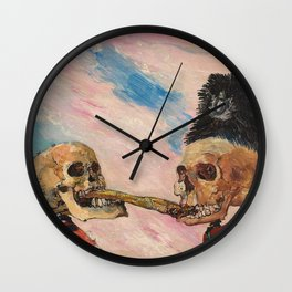 Skeletons Fighting portrait painting by James Ensor Wall Clock