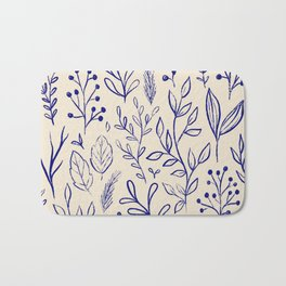 Forest Finds Botanical - Classic blue leaves, berries, and twigs pattern Bath Mat