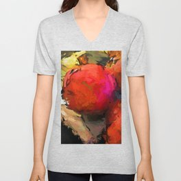 Red Pomegranate in the Yellow Light Unisex V-Neck