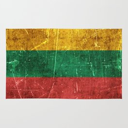 Vintage Aged and Scratched Lithuanian Flag Rug