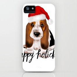 Cute Santa basset hound dog.Christmas puppy gift idea iPhone Case