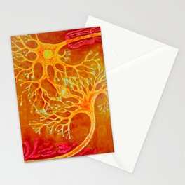 Synapses between a healthey neuron and a neuron with multiple sclerosis Stationery Cards