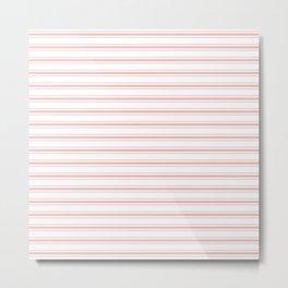 Wide Blush Pink and White Mattress Ticking Stripes Metal Print