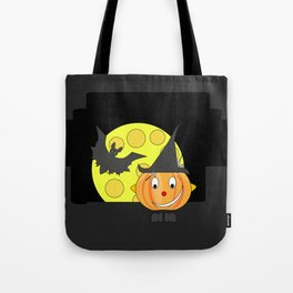 Funny half smile pumpkin head with bat and moon Tote Bag