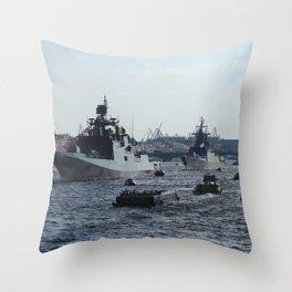 Russian Navy Battleships with passenger boats on Neva River. Throw Pillow