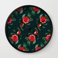 floral pattern Wall Clocks featuring Floral Pattern by Heart of Hearts Designs