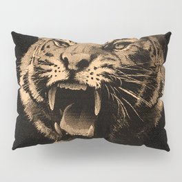 Vintage Tiger in black Pillow Sham