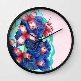pastell spring leaves Wall Clock
