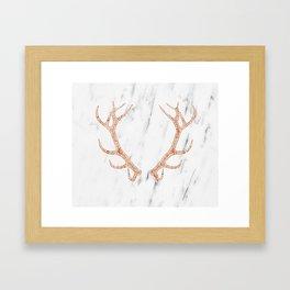 Rose gold antlers on soft white marble Framed Art Print