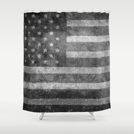 US flag, Old Glory in black & white Shower Curtain