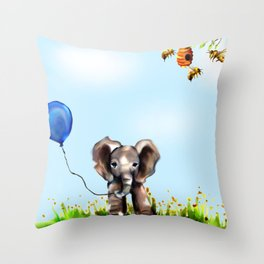 Balloon, Bee and Me Throw Pillow