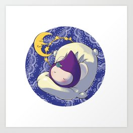 Sleeping Poppette and the Moon Art Print