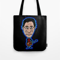 lou reed Tote Bags featuring Lou Reed Rock God by Adam Metzner