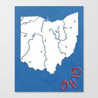 ohio state Canvas Prints featuring Ohio State Map by Finlay McNevin