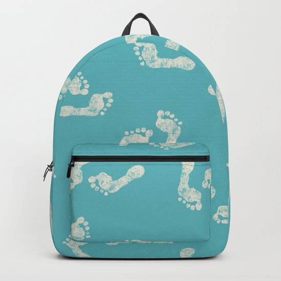 Beach Series Aqua - White footprints on turquoise background on #Society6 Backpack