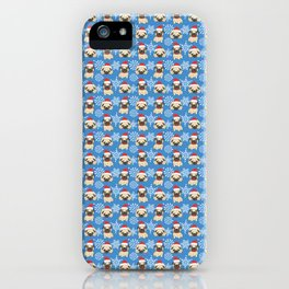 Christmas Pug in Santa Hat with Snowflakes iPhone Case