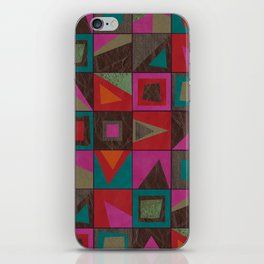 squares of colors and shreds iPhone Skin