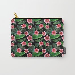 Palm and hibiscus Tropical Watercolor pattern Carry-All Pouch