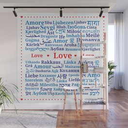"Pattern of the words ""Love"" in different languages of the World Wall Mural"